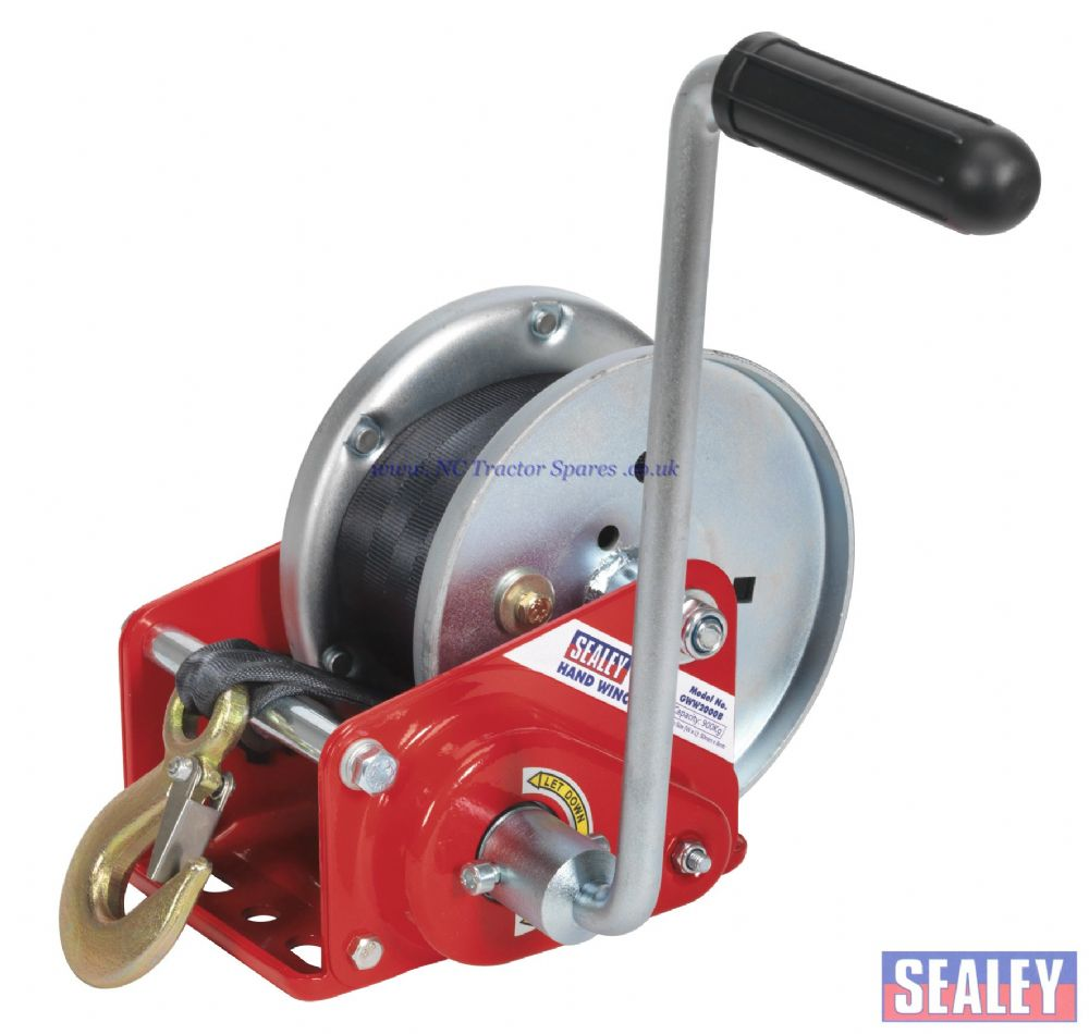 Geared Hand Winch with Brake & Webbing 900kg Capacity